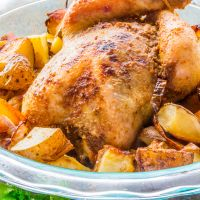 Easy Spicy Whole Roast Chicken with Roasted Potatoes