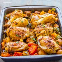 Indian Spiced Tray Baked Chicken with Veggies