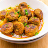 Kacha Kolar Kofta / Green Banana Balls in Spicy Sauce