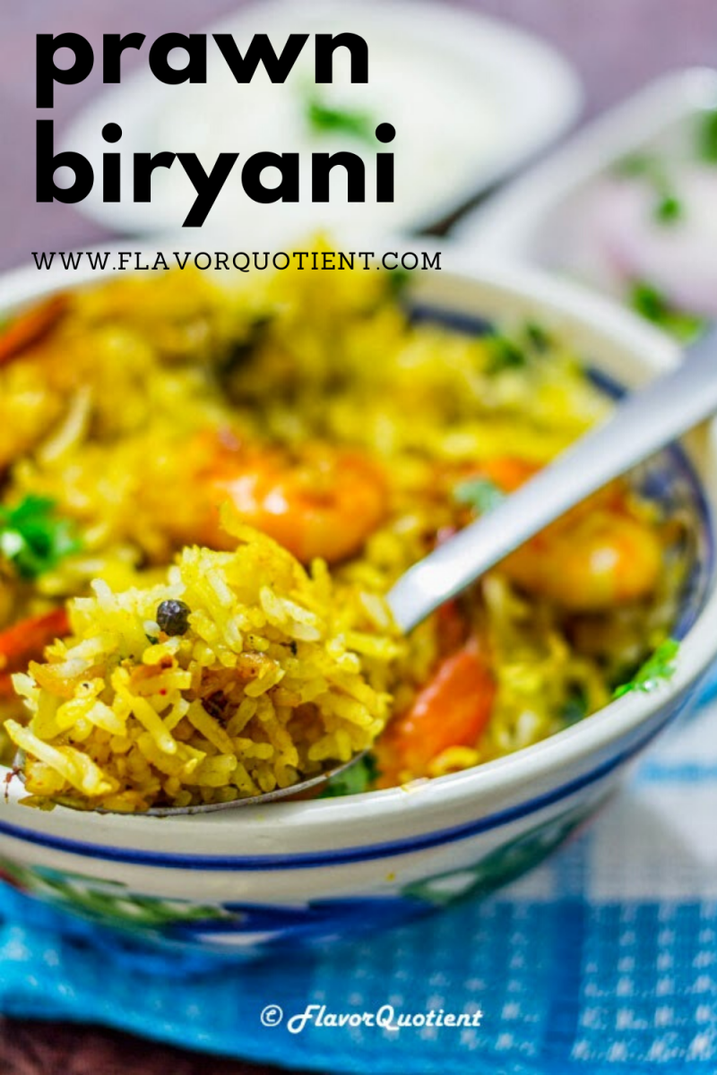 This prawn biryani is my take on creating the same flavors of an authentic biryani using seafood instead of meat and the result was exquisite! Make delicious prawn biryani using this easy recipe with simple instructions. Making exquisite biryani is absolutely achieveable at home! | prawn biryani easy recipe | Indian prawn biryani recipe | easy prawn biryani | hyderabadi prawn biryani | best prawn biryani