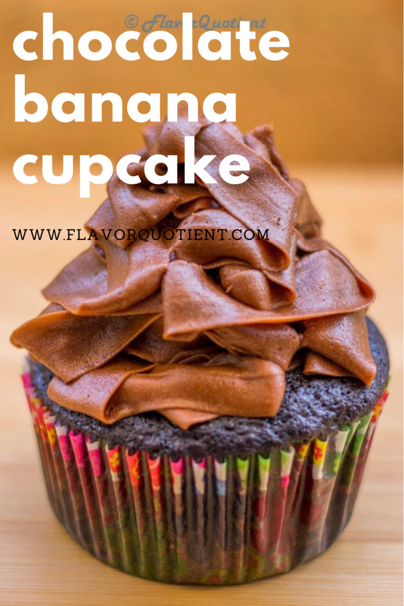 These chocolate banana cupcakes are very soft and moist as well as guilt-free at the same time as it doesn't have any butter in it! Make a big batch of these easy chocolate banana cupcakes and chill them in refrigerator wrapping them up in cling film. They remain good for a week and you can satiate your sudden sweet cravings at midnight with these cute little healthy chocolate banana cupcakes! | chocolate banana cupcakes recipe | dark chocolate banana cupcakes | chocolate banana cupcake mix