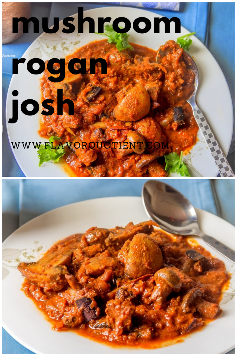 The rich and aromatic rogan mushroom is the prefect vegetarian spin on the quintessential mutton rogan josh! This rogan mushroom has perfect blend of flavors complementing the texture of fresh button mushrooms beautifully! | Indian mushroom curry | mushroom recipe | easy mushroom recipe | Indian mushroom recipe easy