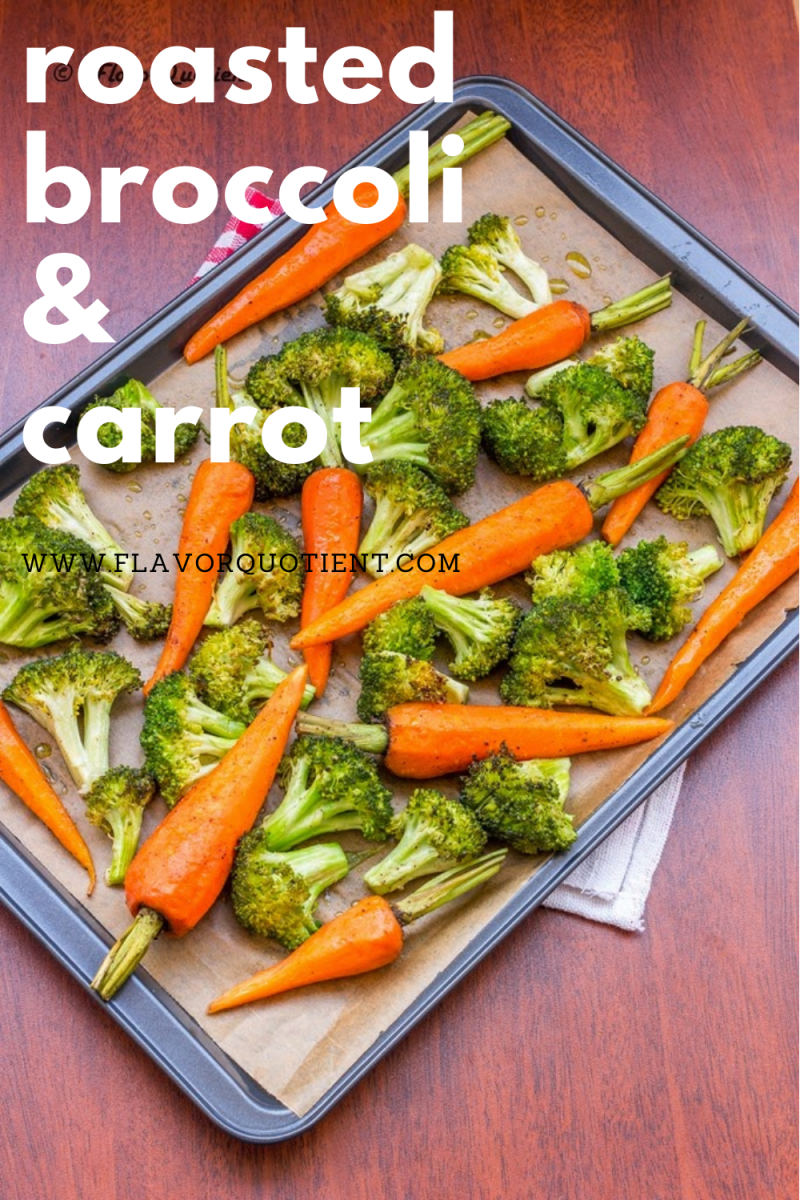 Crunchy oven roasted broccoli and carrots are best option to snack on healthily. Once these oven roasted broccoli and carrots come out of the oven, you won't be able to stop snacking on them! Throw in some lemon and garlic and make your own signature style of oven roasted broccoli and carrots! You can make these roasted broccoli and carrots side dish in air fryer too! | oven roasted broccoli and carrots | lemon garlic oven roasted broccoli and carrots | oven roasted broccoli and carrots asian