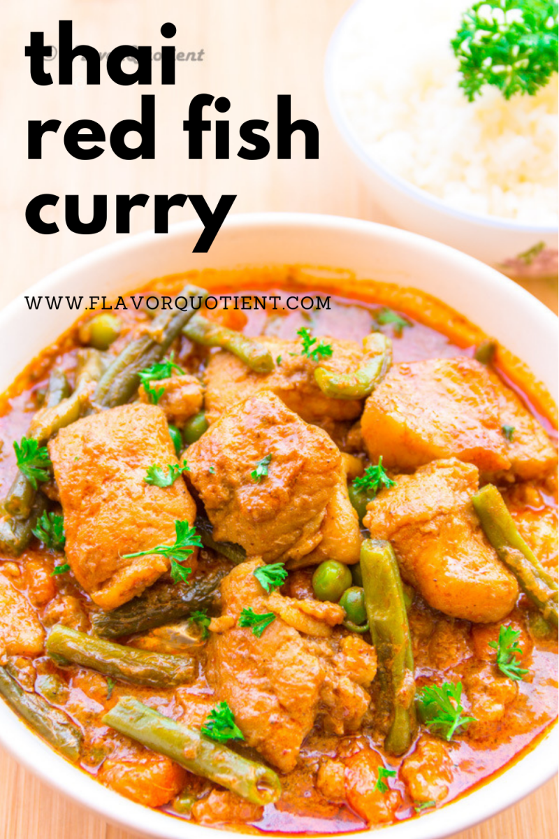 Experience the best & freshest Thai flavors with this Thai red fish curry that has all Thai flavors amalgamated in one bowl along with succulent cubes of fish & array of veggies! Thai red curry with fish served with rice makes for the most wholesome as well as satisfying meal for everyone.   Thai red fish curry coconut milk   thai red curry fish recipe   thai red curry fish soup   red thai curry fish recipes