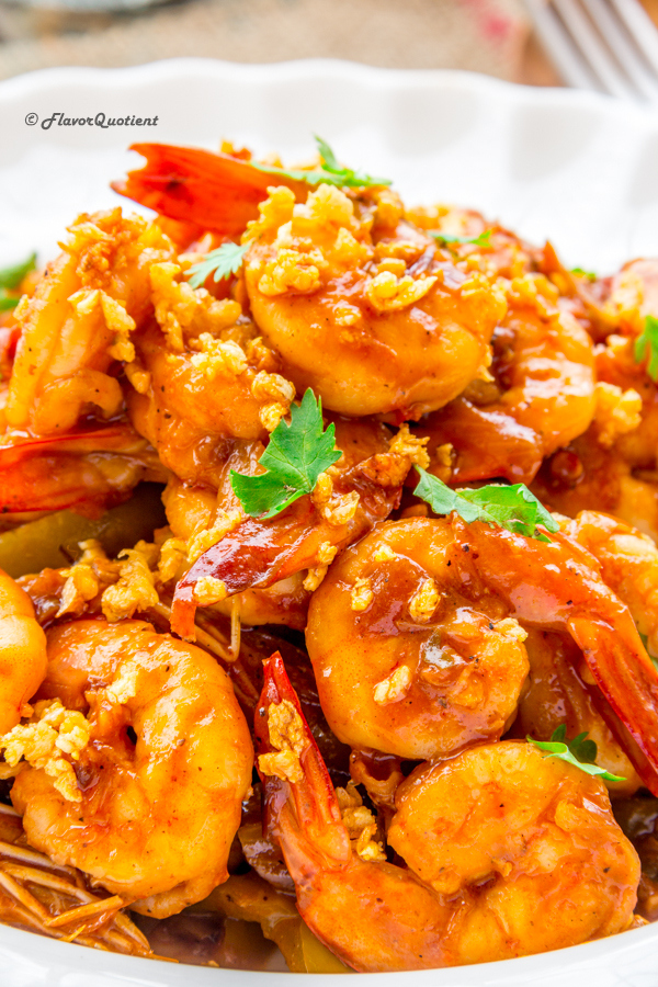 Butter Garlic Shrimps Stir Fry | Flavor Quotient | The stir-fried butter garlic shrimps with Asian flavored sauce is absolutely delicious on its own but it ignites your senses when topped with handful of butter-roasted garlic!