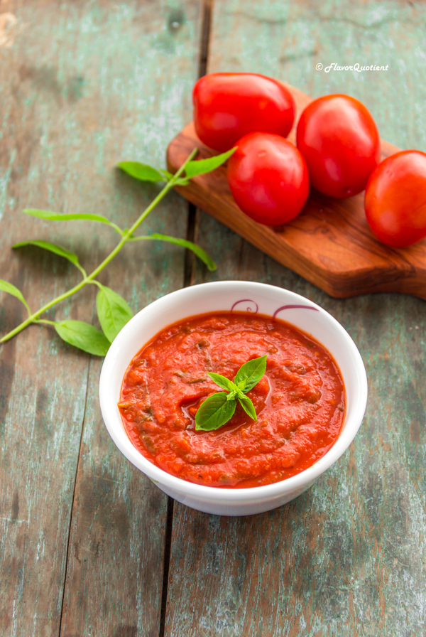 How to make Marinara Sauce | Flavor Quotient | Your search for the classic Italian red pasta sauce aka marinara sauce ends here! This classic marinara sauce is a perfect all-rounder – toss you pasta or top your pizza with it and you are gonna love it!