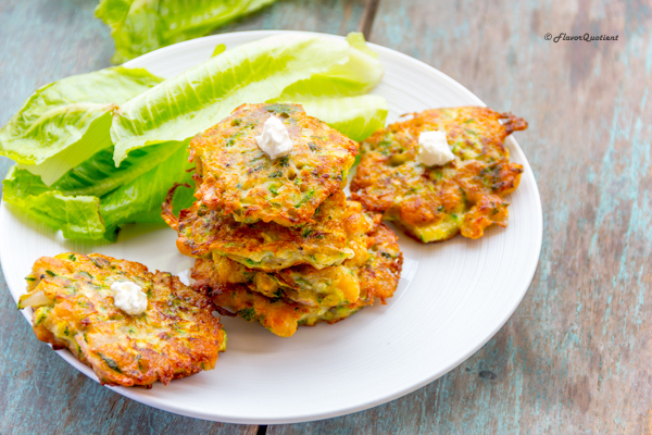 ZChickpea Zucchini Fritters | Flavor Quotient | There is really something special about these zucchini fritters; they are crunchy, flavorful and so full of greens!