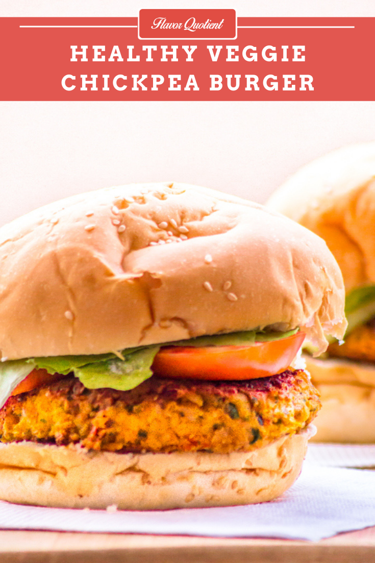 Veggie Chickpea Burger | Flavor Quotient | This flavorful veggie chickpea burger is a delightful alternative to the meat burgers to go meatless! I can bet you won't miss your meat in this occasion!