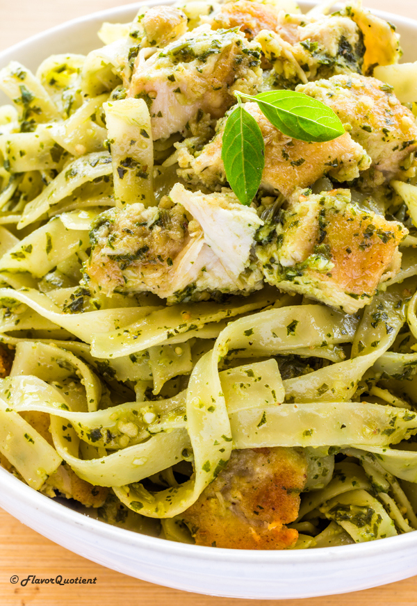 Best Ever Chicken Pesto Pasta – Flavor Quotient : I made the classic chicken pesto pasta which needs no introduction and it proved to be even more special with homemade basil pesto using our own homegrown basil leaves!