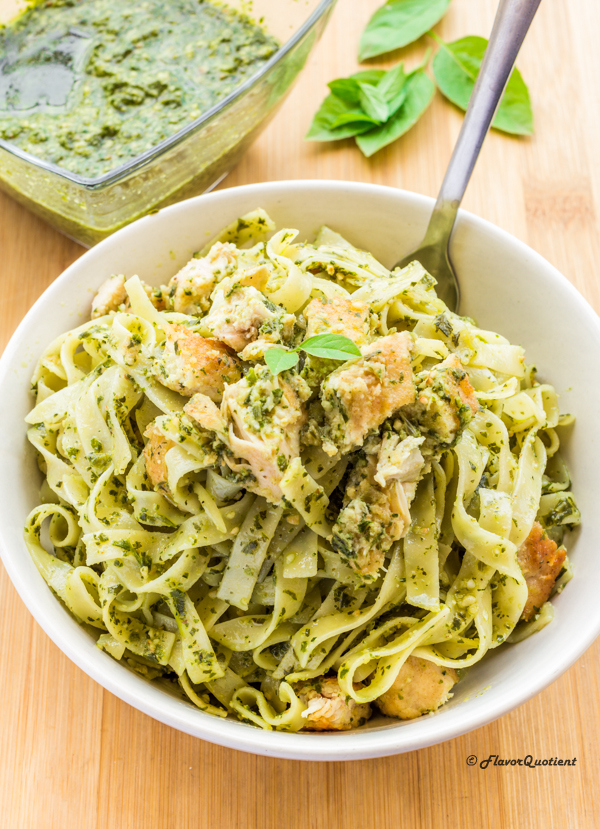 Chicken Pasta With Homemade Basil Pesto