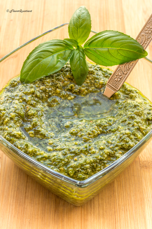 Homemade Spinach Basil Pesto | Flavor Quotient | Your search for the ultimate homemade basil pesto ends here! This easy and quick recipe of basil pesto is just perfect for all us pesto lovers!