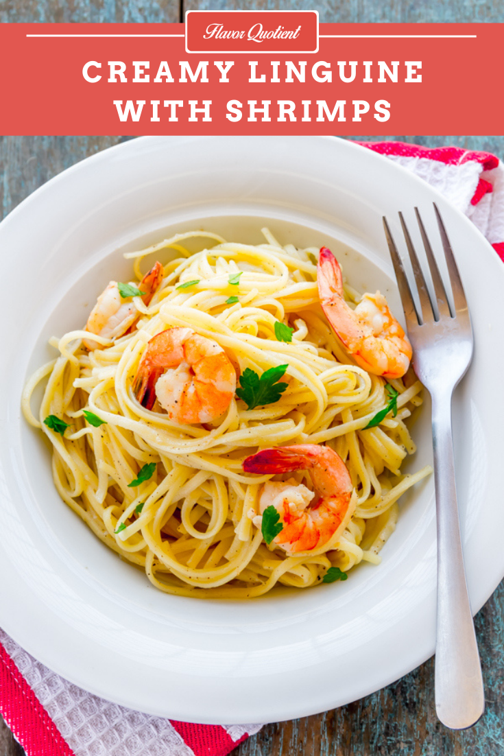 Creamy Linguine with Shrimps | Flavor Quotient | This creamy creamy linguine with shrimps in lemon-wine sauce will make you a crazy pasta addict!
