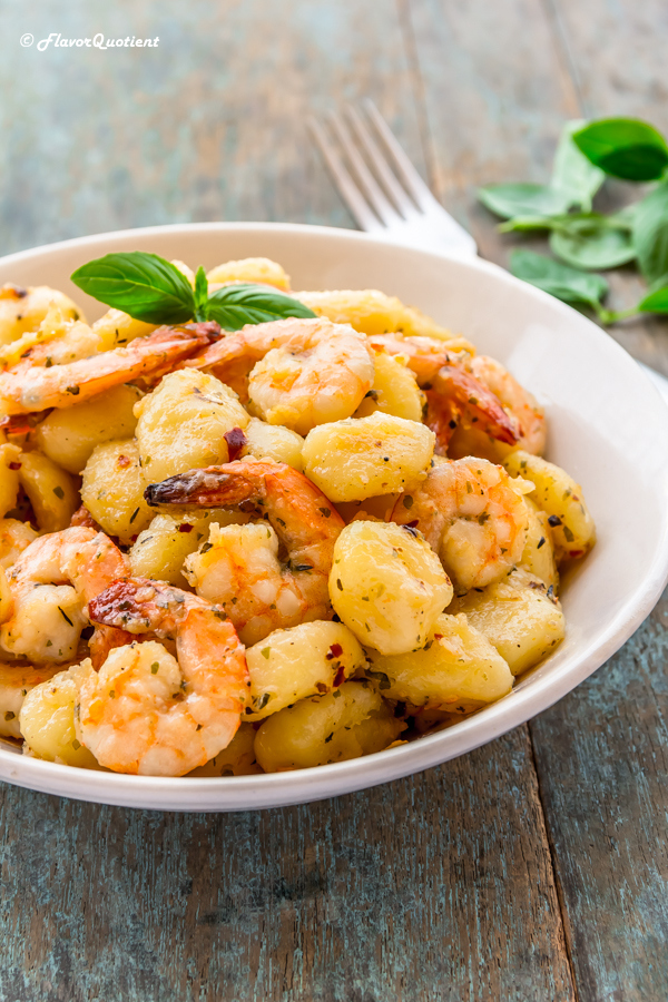 Gnocchi with Shrimps in Lemon Wine Sauce | Flavor Quotient | This super simple recipe of gnocchi with shrimps is quick to make but does not compromise with the taste and flavor even a bit! A fine dining experience at the comfort of your home!