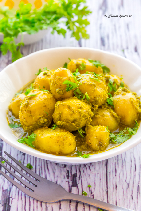 Indian Spiced Potato Curry with Coconut and Coriander | Flavor Quotient | This humble Indian potato curry in creamy & tangy coconut & coriander gravy will delight everyone – the pure vegetarians as well as the strict non-vegetarians.