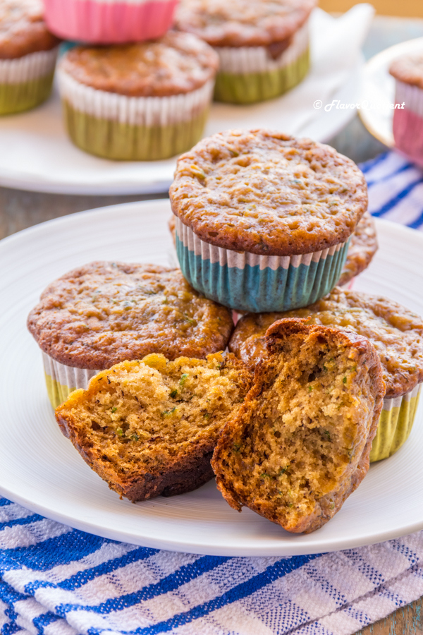 Low Fat Banana & Zucchini Muffins | Flavor Quotient | These banana zucchini muffins are power packed breakfast goodies which will be loved by everyone across the board – even the remotest zucchini lovers!
