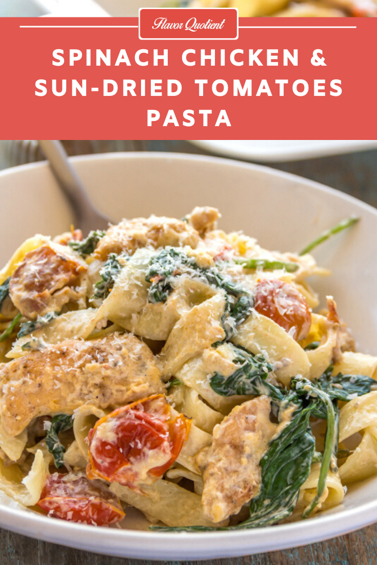 Creamy Spinach & Chicken Pasta | Flavor Quotient | This creamy spinach & chicken pasta recipe is an ultimate comfort food and even if you are not a pasta lover, you will still fall for it! It's damn delicious!