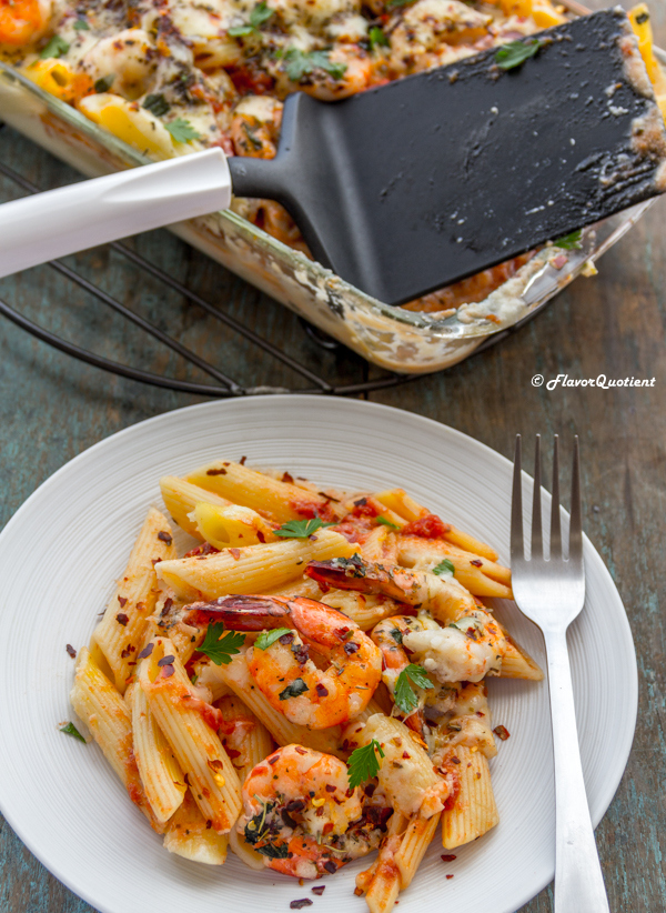 Easy Shrimp Alfredo Pasta Bake | Flavor Quotient | This make-ahead shrimp Alfredo pasta bake is an out-of-the-world weeknight meal which is gonna delete all the take-out options permanently!