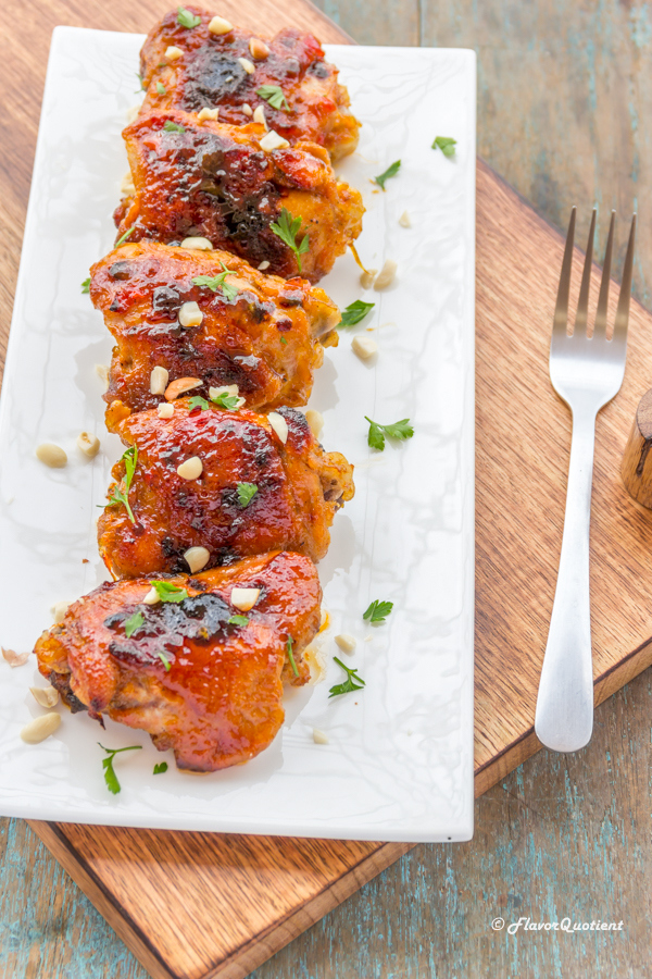 Sticky Baked Chicken Thighs | Flavor Quotient | Easy and delicious sticky baked chicken thighs will not let you sacrifice flavors from your busy weeknight's meals and everything comes around just in a jiffy!