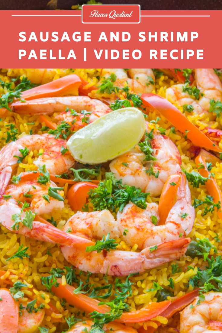 Sausage & Shrimp Paella *Video Recipe* | Flavor Quotient | This easy recipe of sausage and shrimp paella is my version to help you make delicious Spanish paella at home without much fuss.