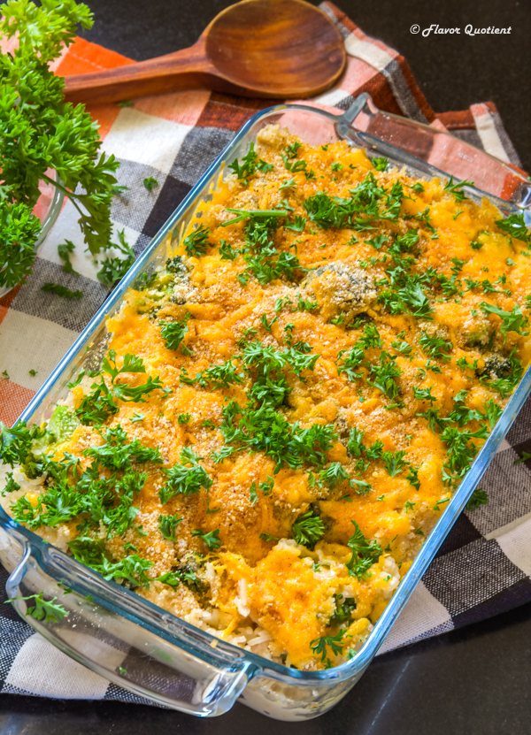Cheesy Chicken Broccoli Rice Casserole | Flavor Quotient | I call this cheesy chicken broccoli rice casserole a one-pot-wonder! It's hearty, delicious, easy and a crowd pleaser! What more do we want!