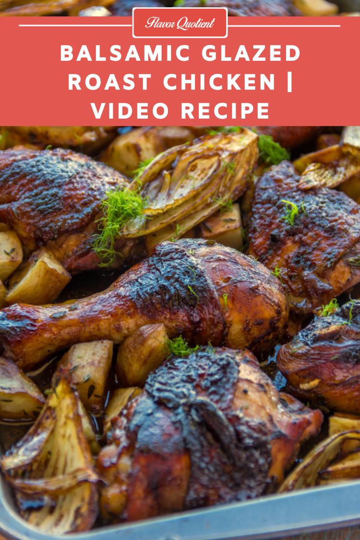 Balsamic Glazed Chicken   Flavor Quotient   Sticky and glossy, this rustic balsamic glazed chicken is a one-pot wonder loaded with tons of flavors and this hearty meal is gonna brighten up your weeknight dinner instantly!