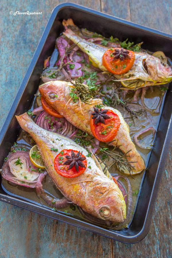 Whole Baked Fish & Vegetables | Flavor Quotient | A magnificent dish is at your disposal today! This baked fish with vegetables is not only pleasing to eyes but also a feast to your senses!