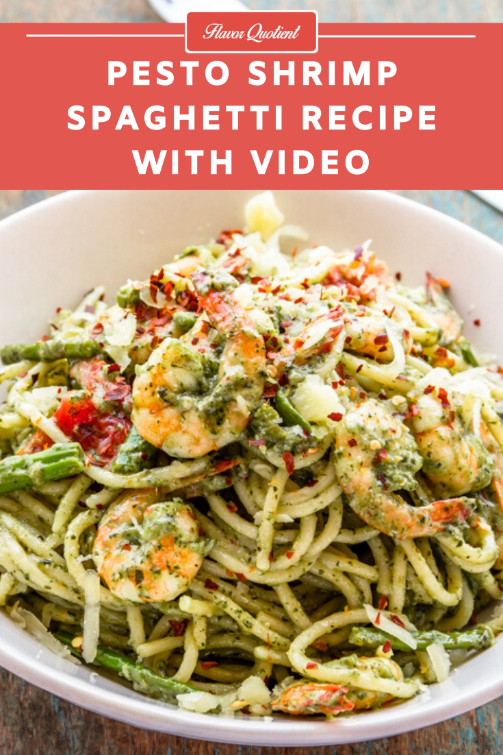 Pesto Shrimp Spaghetti | Flavor Quotient | When all good things come together, it makes such amazing dish like this creamy pesto shrimp spaghetti! With homemade basil pesto, things rise to a whole new level of yumminess!