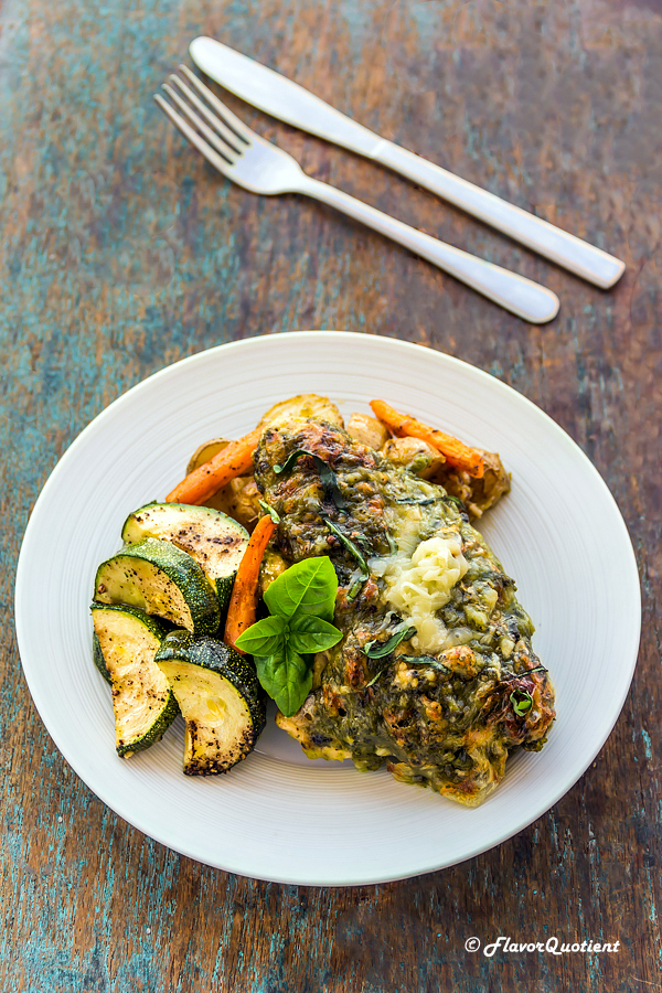 One Pan Pesto Chicken & Veggies | Flavor Quotient | This one pan pesto chicken and veggies is a sure-shot winner – you get a delicious dish and just one pan to wash! What more can you ask for!