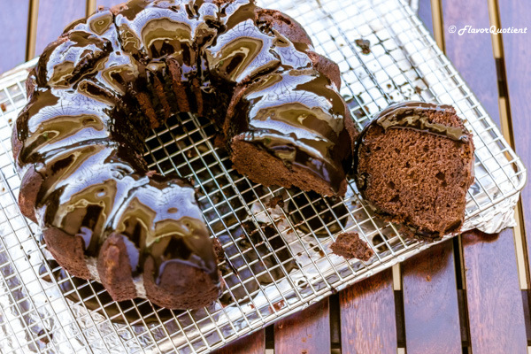 Chocolate Bundt Cake with Chocolate Ganache | Flavor Quotient | This is the perfect time for the decadent chocolate Bundt cake drizzled with luscious chocolate ganache! Well, no time could be imperfect for this heavenly chocolaty delicacy!