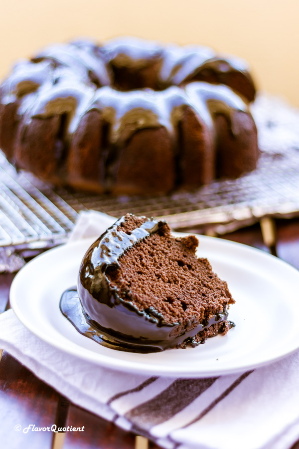 Chocolate Bundt Cake with Chocolate Ganache   Flavor Quotient   This is the perfect time for the decadent chocolate Bundt cake drizzled with luscious chocolate ganache! Well, no time could be imperfect for this heavenly chocolaty delicacy!