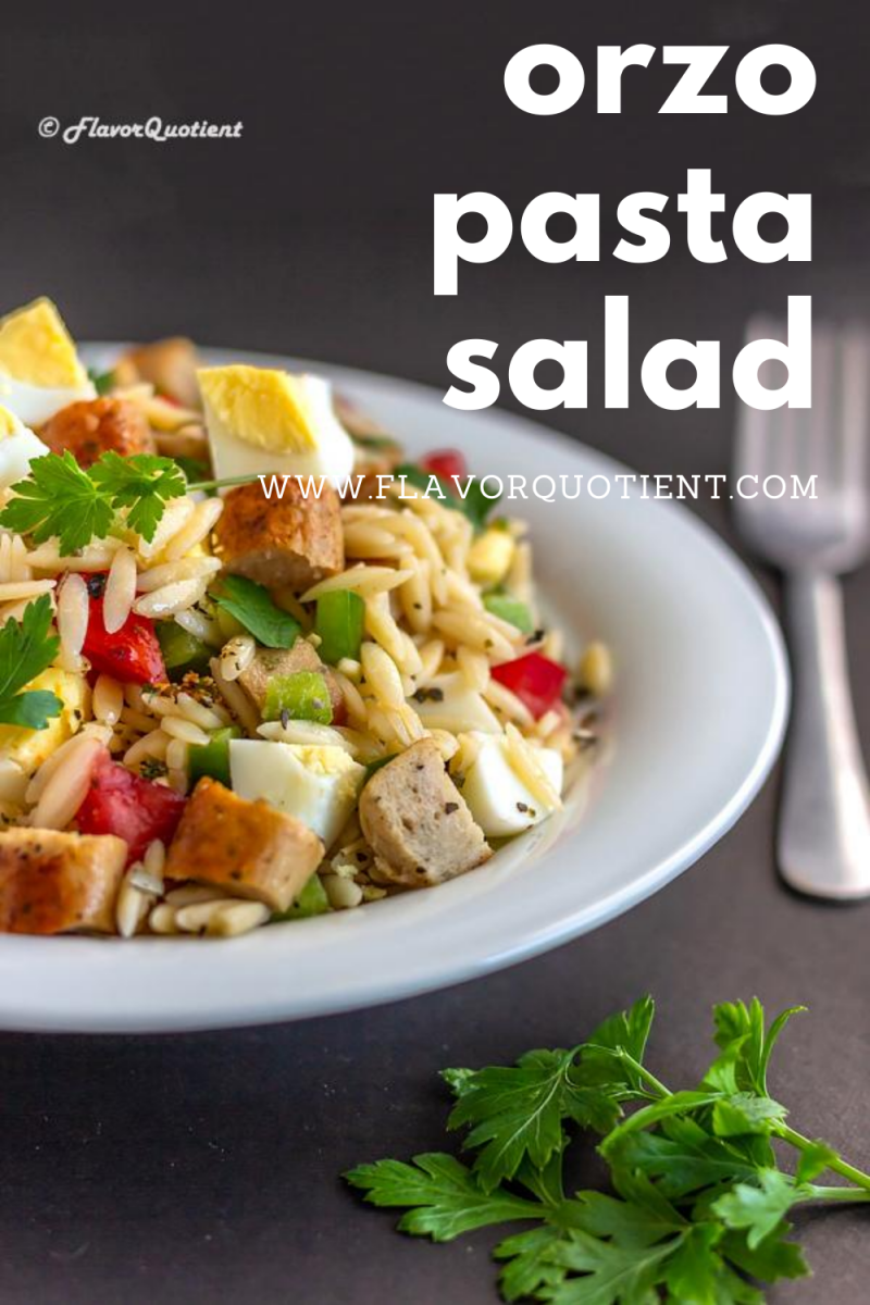 My orzo pasta salad with eggs and sausage will prove to be the best side with your favorite steak or grilled meat. Serve the orzo pasta salad cold or at room temperature and enjoy the best of summer! | Greek orzo pasta salad | Cold orzo pasta salad | Summer orzo pasta salad | orzo pasta salad with Feta | orzo pasta salad recipe | Italian orzo pasta salad | Mediterranean orzo pasta salad | Healthy orzo pasta salad