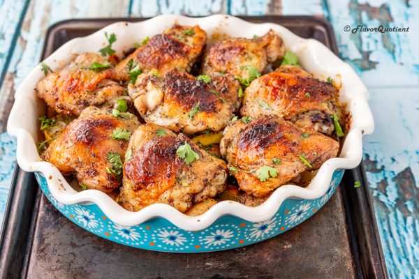 Garlic Butter Baked Chicken Thighs | Flavor Quotient | These garlic butter baked chicken thighs are amazingly high on flavors and is a perfect celebratory dish for the upcoming holiday season!