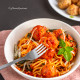 Spaghetti and Meatballs | Baked Chicken Meatballs with Spaghetti Marinara