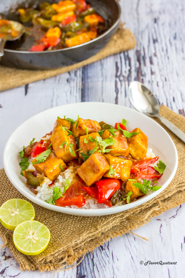 Vegan Stir-Fried Sweet and Sour Tofu |  Flavor Quotient | My vegan sweet and sour tofu is the perfect side to a warm bowl of rice for your meatless Mondays and I bet the meat lovers will love this vegan delicacy too!