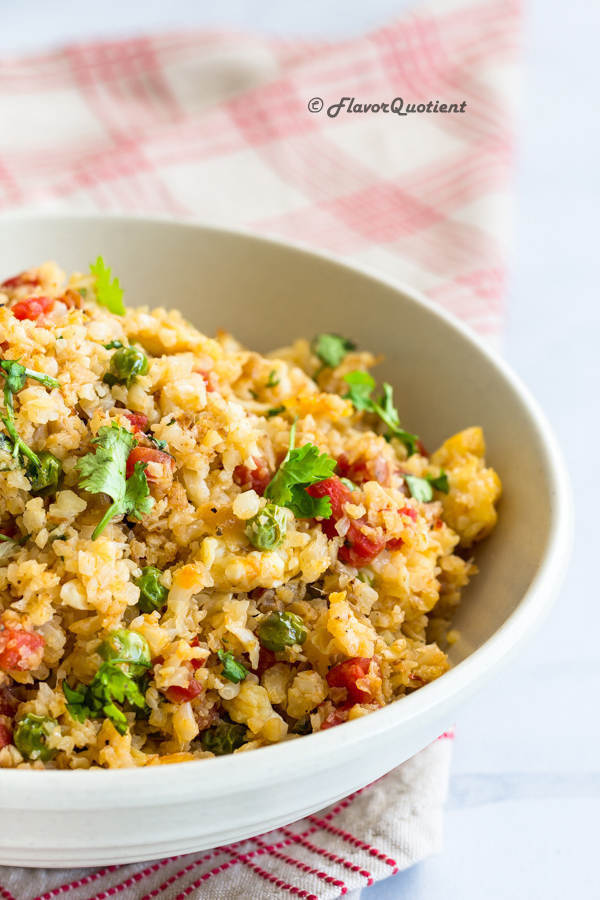 Fail-Proof Stir Fried Cauliflower Rice Recipe | Flavor Quotient | After trying and tasting multiple cauliflower rice recipes, finally I have arrived at my holy grail recipe of cauliflower rice which is hundred percent fail-proof and guarantee the fluffiest cauliflower rice every time!