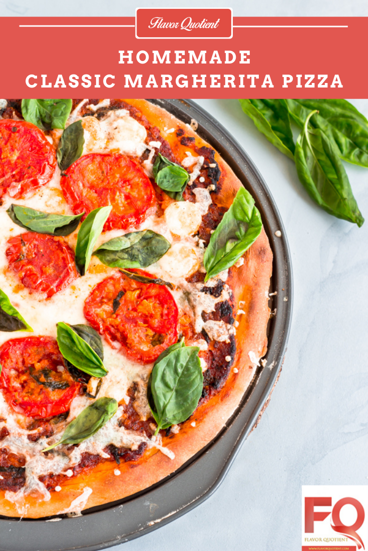 Classic Margherita Pizza from Scratch | Flavor Quotient | A classic Margherita pizza made from scratch at home could be the best thing to reward yourself and your friends & family! This homemade Margherita pizza is the best ever veg pizza I have ever tasted and with my tips & tricks below, you can bake a perfect one at your home too!