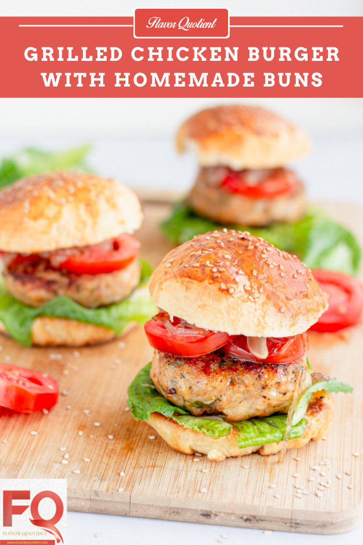 Grilled Chicken Burger with Homemade Hamburger Buns - Flavor Quotient : If I get to pick one recipe which brought me immense happiness off late, then it has to be this grilled chicken burger with homemade hamburger buns!