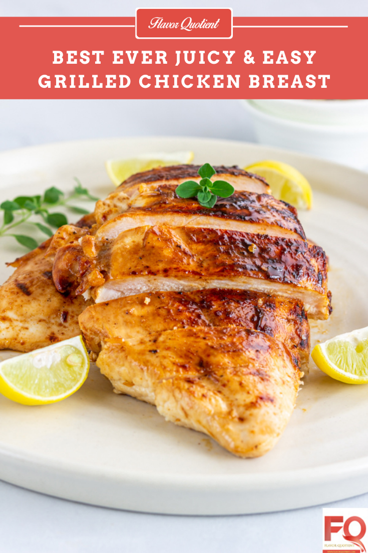 Easy Grilled Chicken Breast | This easy grilled chicken breast is an ideal healthy take on chicken that is low in calorie but high in protein as well as taste – a perfect no-fuss healthy meal for a hectic weeknight!