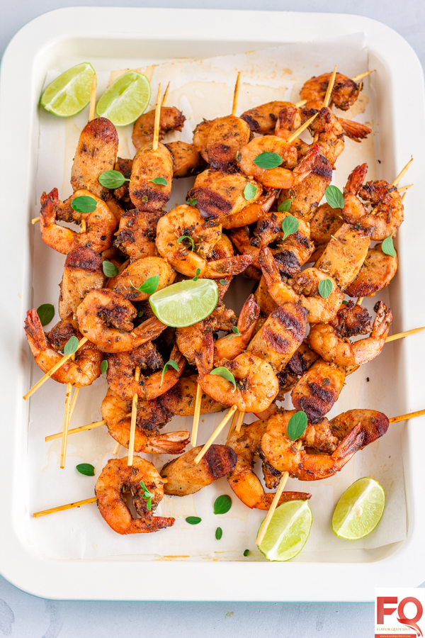 Shrimp and Sausage Skewers | Flavor Quotient | This stunning recipe of shrimp and sausage skewers will simply blow all of you away!