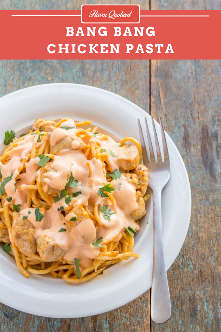 Bang Bang Chicken Pasta | Flavor Quotient | This bang bang chicken pasta is childishly easy to make but substantially high on taste! The addictive bang bang sauce gives an ultimate make-over to the humble chicken pasta.