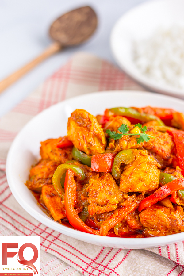 Restaurant Style Chicken Jalfrezi | Flavor Quotient | Chicken jalfrezi is a delicious chicken stir-fry with onions, peppers and tomatoes minimally flavored with aromatic Indian spices.
