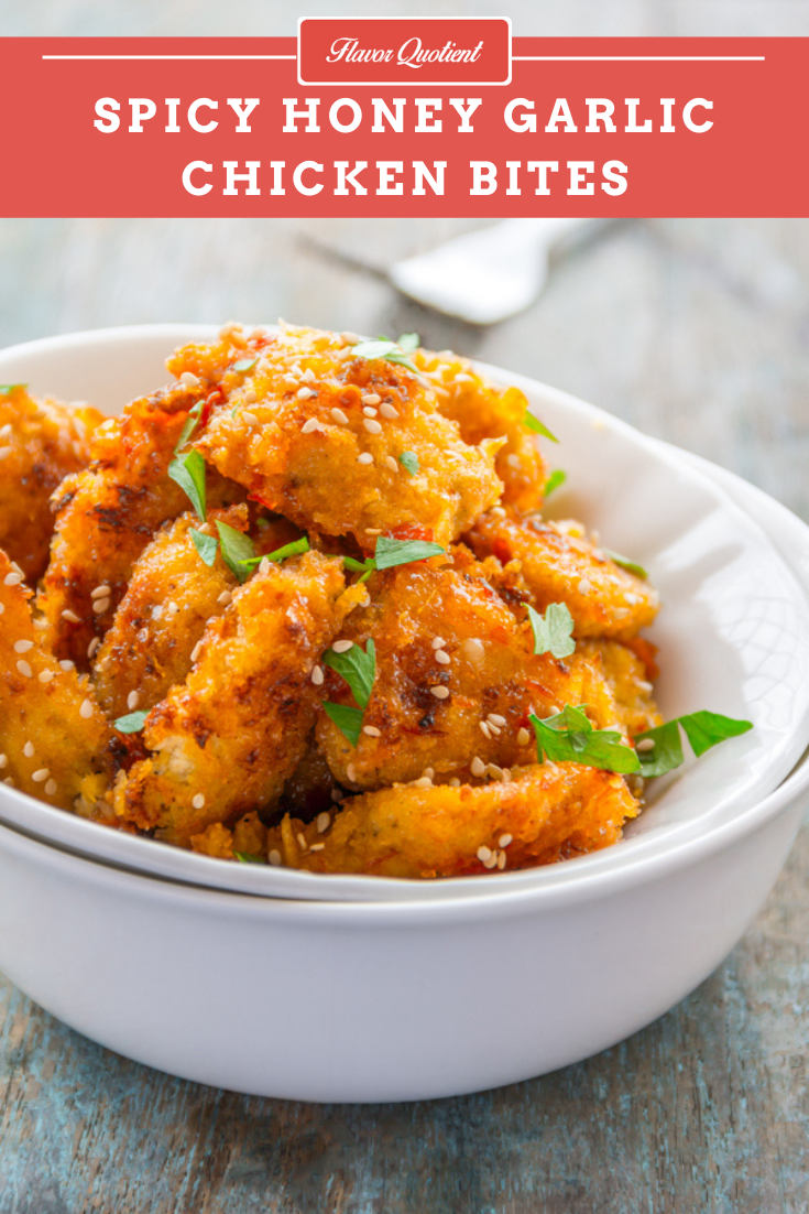 Spicy Honey Garlic Chicken Bites | Flavor Quotient | picy honey garlic chicken bites are the easiest, quickest and yummiest chicken snack that you could ever possibly make!