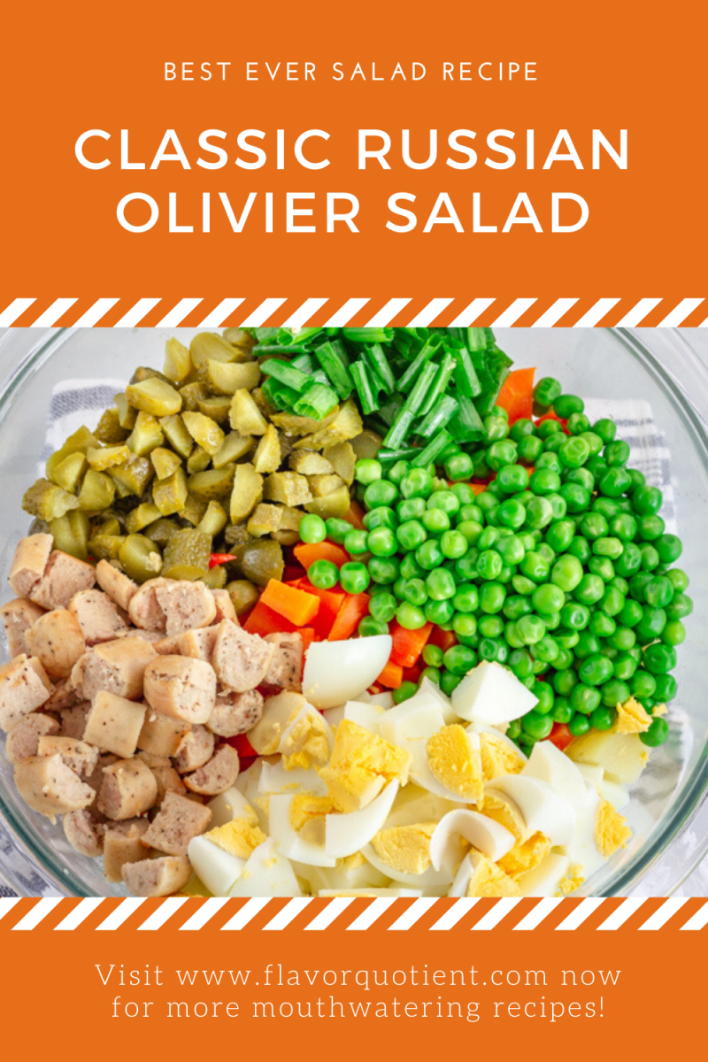 This classic Russian Olivier salad is a must-have recipe for any Russian family celebrations! This Russian Olivier salad is loaded with potatoes and other veggies like carrots, green peas and gherkins along with proteins like eggs and grilled chicken! I have twisted it up and used chicken sausage instead of grilled chicken in my Olivier salad which I am sure will win your heart over! #oliviersalad #russiansaladrecipe #easyoliviersaladrecipe #easyrussiansaladrecipe