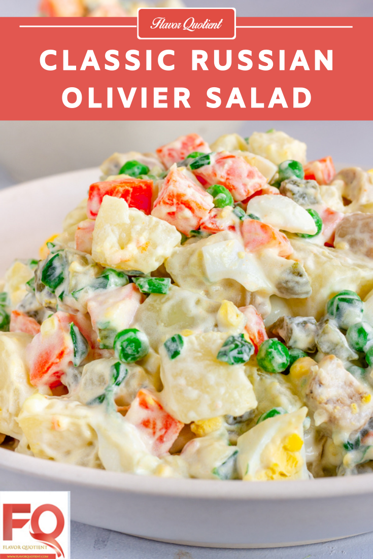 Russian Olivier Salad Recipe | Flavor Quotient | The Russian Olivier salad is a potato salad which is also loaded with other veggies like carrots, green peas and gherkins.